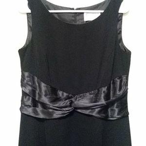 Black Sleeveless Dress w Satin Bow Waist Size 8
